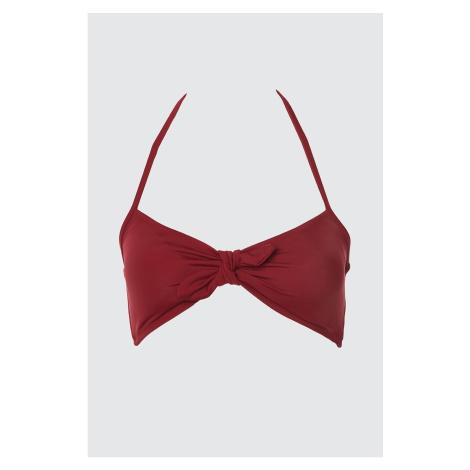 Trendyol Burgundy Tie Detailed Bikini Top