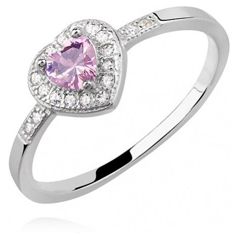 OLIVIE Stříbrný prsten RŮŽOVÉ SRDCE 2401