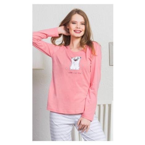 Dámské pyžamo dlouhé I like you, XL, lososová Vienetta Secret