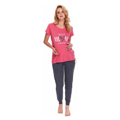 DN Nightwear Kojicí a těhotenské pyžamo Best mom růžové