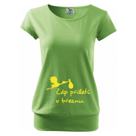 Těhotenské tričko s potiskem Čáp přiletí - vtipný motiv na triko BezvaTriko