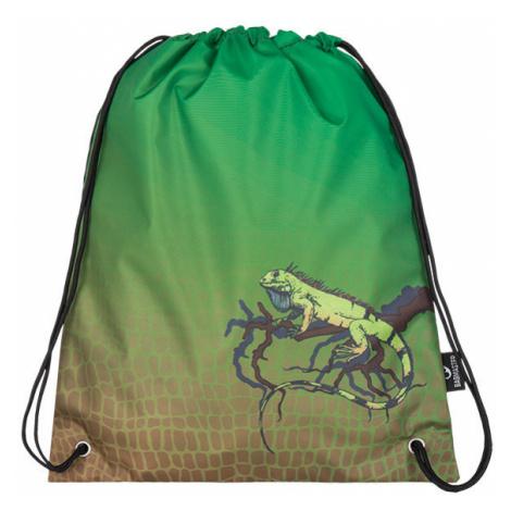 Klučičí školní sáček na přezůvky leguán Bagmaster SHOES GALAXY 7 E GREEN/ORANGE