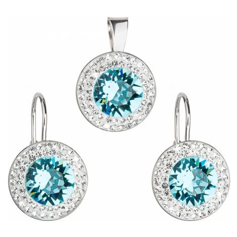 Sada šperků s krystaly Swarovski náušnice a přívěsek modré kulaté 39107.3 turquoise Victum