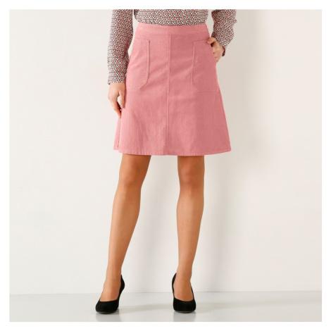 Manšestrová rozšířená sukně růžová