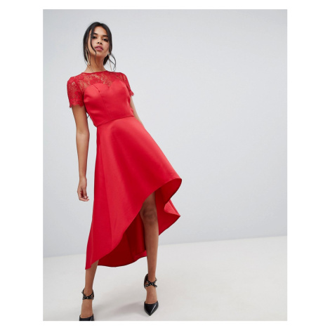 Chi Chi London high low hem midi dress with lace sleeves in red - Red