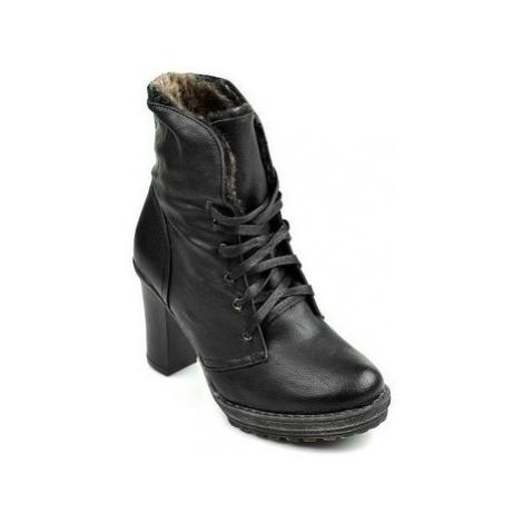 Vices Skvělé černé kotníčkové boty s chundelatým kožíškem ruznobarevne
