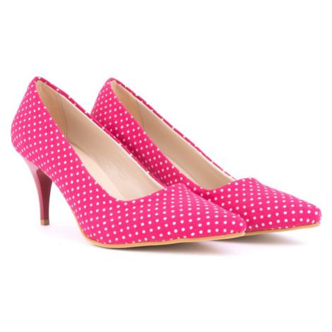 Růžové puntíkované dámské lodičky Ferrie