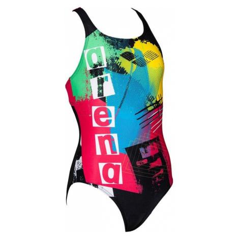 Plavky Arena Rock swim pro back - černá/červená/žlutá