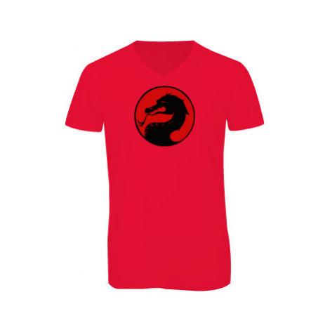 Pánské triko s výstřihem do V Drak