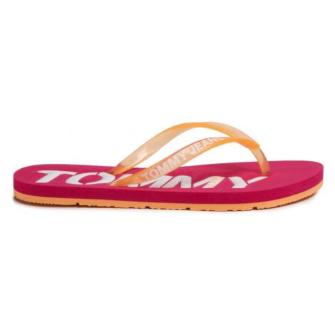 Tommy Jeans dámské růžovo oranžové žabky Tommy Hilfiger