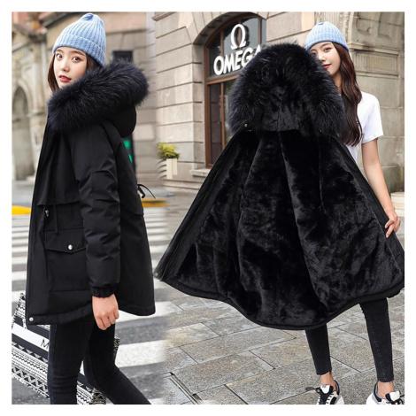 Oboustranná bunda zimní parka s kožíškem kabátek s kapucí - XXL