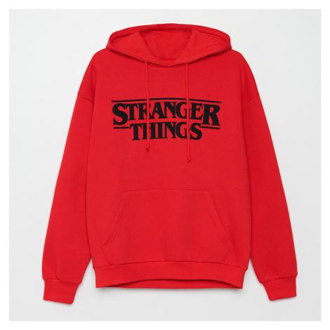 Cropp - Mikina s kapucí Stranger Things - Červená