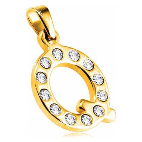 Lesklý ocelový přívěsek zlaté barvy, písmeno Q vykládané čirými zirkony Šperky eshop