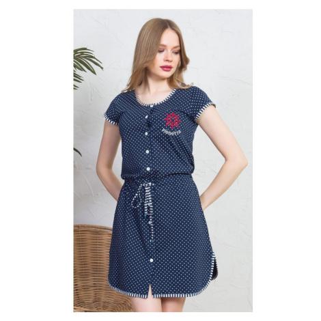 Dámské domácí šaty s krátkým rukávem Kormidlo, XL, tmavě modrá Vienetta Secret