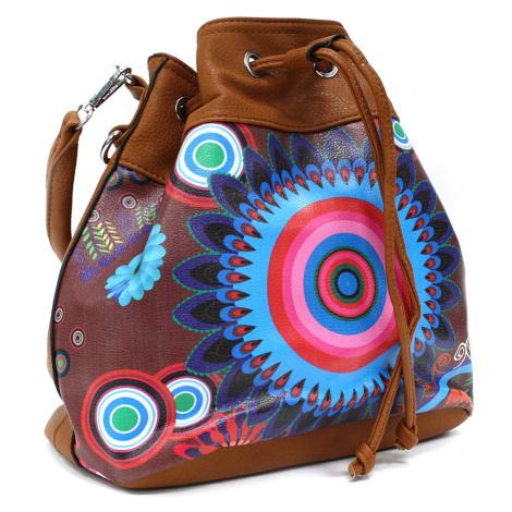 Hnědá vzorovaná dámská kabelka ve tvaru vaku Leondrea Tapple