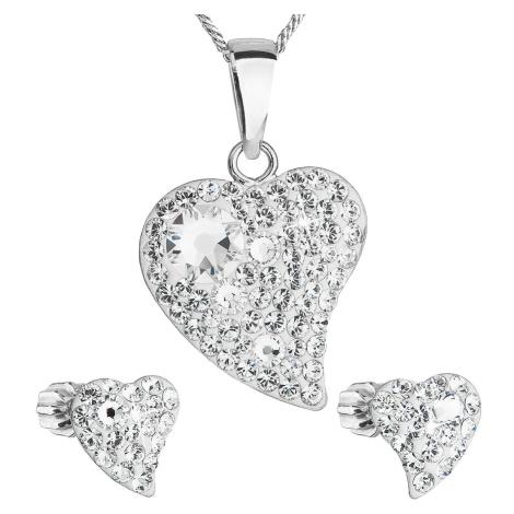 Sada šperků s krystaly Swarovski náušnice,řetízek a přívěsek bílé srdce 39170.1 Victum