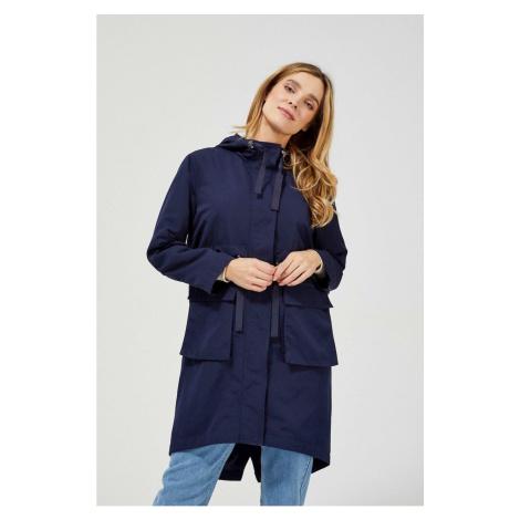 Long parka jacket with a hood, navy blue color Moodo