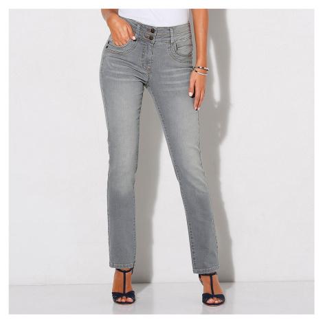 Blancheporte Rovné džíny v opraném vzhledu šedá