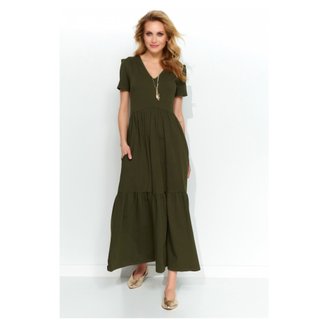 Makadamia Woman's Dress M549 Khaki