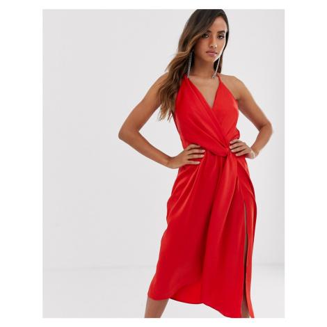 ASOS DESIGN minimal drape midi dress in satin-Red