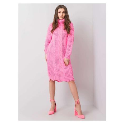 Pink turtleneck knitted dress Fashionhunters