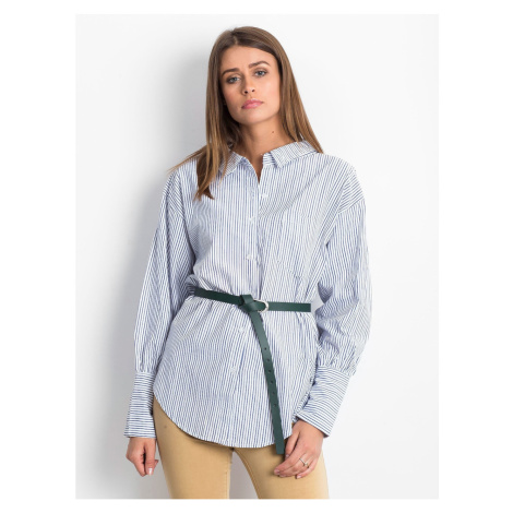 Navy blue striped shirt with a decorative neckline at the back Fashionhunters