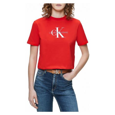 Calvin Klein Calvin Klein dámské červené tričko MONOGRAM MODERN STRAIGHT CROP