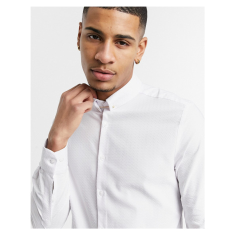 ASOS DESIGN slim fit textured shirt with collar bar-White