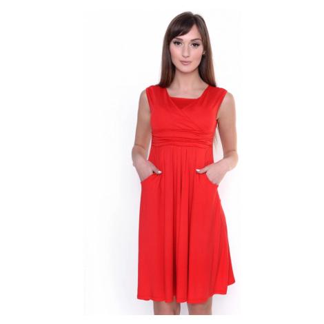 Šaty kryjící dekolt barva červená Oxyd