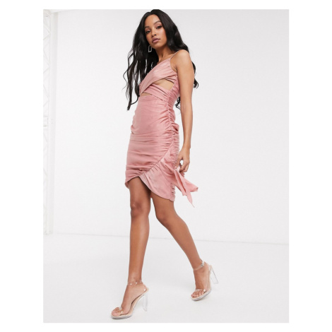 Pretty Darling drapey wrap detail mini dress-Pink