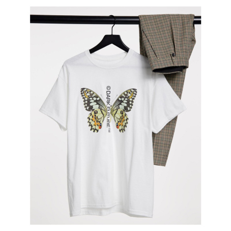 ASOS Dark Future t-shirt in white with butterfly print and logo