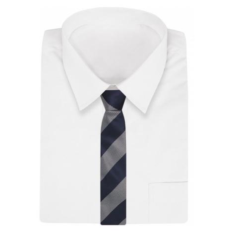 Tmavomodrá kravata s hrubými šedými pruhy
