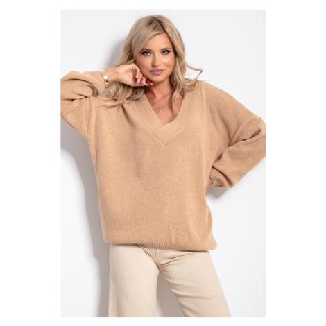 Vlněný svetr s výstřihem do V F1058 Fobya