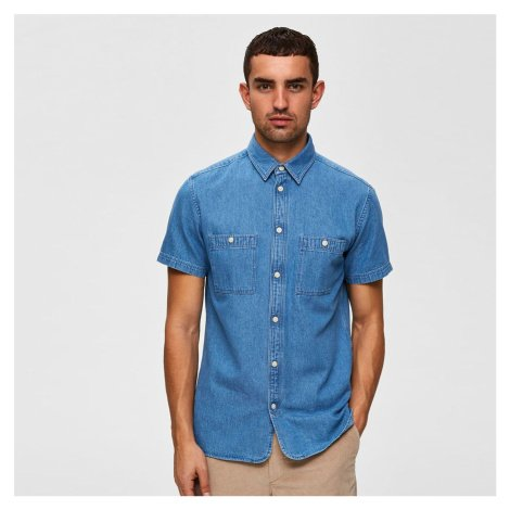 Džínová košile s krátkým rukávem Regular Vincent Selected