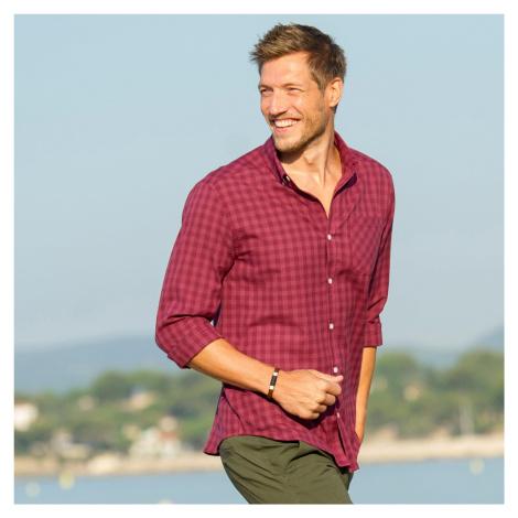 Blancheporte Kostičkovaná košile s dlouhými rukávy starorůžová