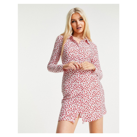 Wednesday's Girl long sleeve bodycon shirt dress in red ditsy floral