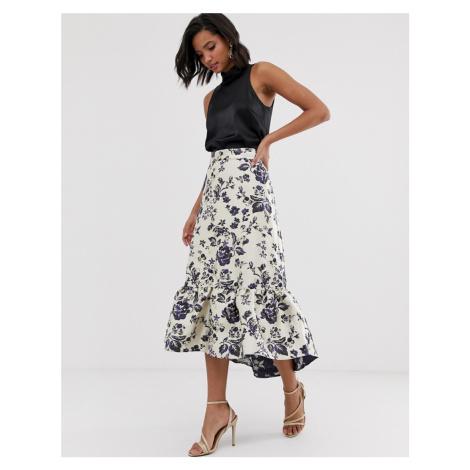 Closet frill hi low midi skirt-Navy