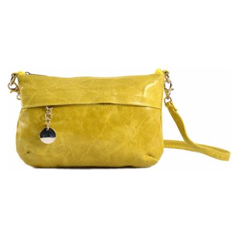 Dámská kabelka/kapsa i společenská s leskem kožená žlutá, 22 x 7 x 14 (IT00-20149-06KUZ)
