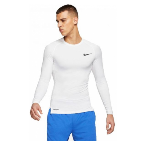 Nike NP TOP LS TIGHT M bílá - Pánské tričko s dlouhým rukávem