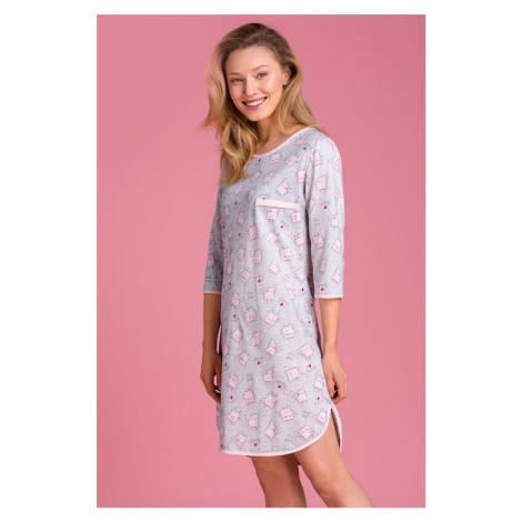 Růžovo-šedá vzorovaná noční košile PY135 Passion