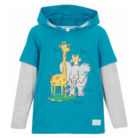 Vícevrstvé triko z organické bavlny s kapucí, pro chlapce Bonprix