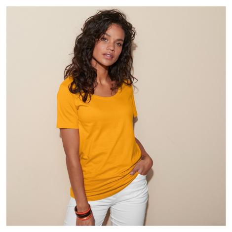 Blancheporte Jednobarevné tričko s kulatým výstřihem šafránová