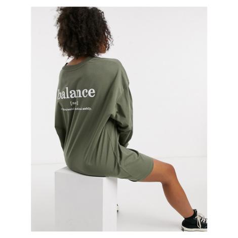 ASOS DESIGN oversized long sleeve t-shirt dress in dark sage with back print-Green