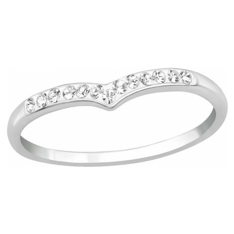 OLIVIE Stříbrný prstýnek ŠIPKA s krystalky