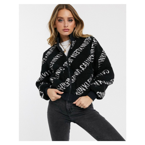 Calvin Klein Jeans all over logo teddy jacket-Black