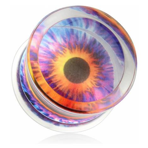 Čirý plug do ucha, sedlový, akrylový, motiv - barevné oko - Tloušťka : 24 mm