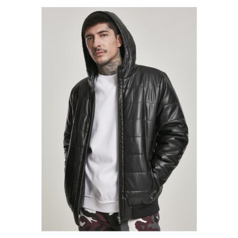 Urban Classics Hooded Faux Leather Bubble Jacket black