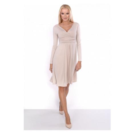 Delší vycházkové šaty s dlouhým rukávem barva béžová