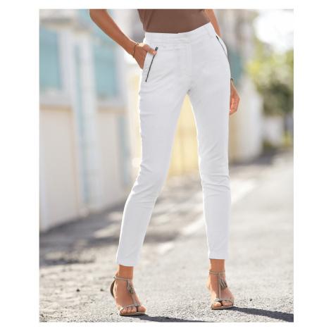 Blancheporte 7/8 kalhoty se zipy a kapsami bílá