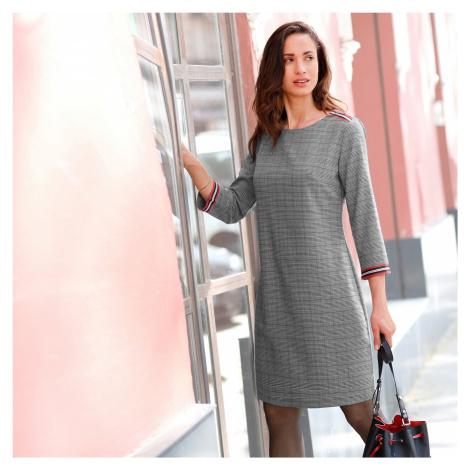Blancheporte Kostkované šaty s lampasy čokoládová/režná